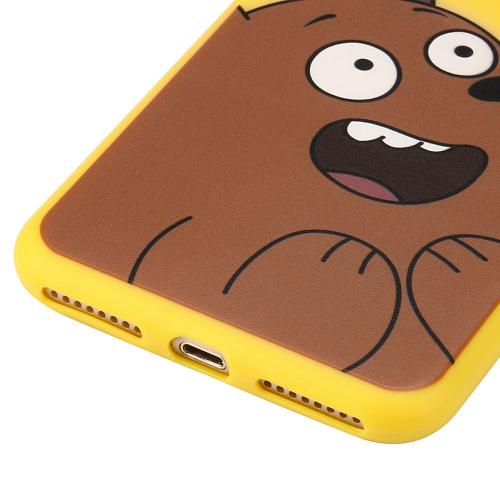 Made for Apple iPhone 8 / 7 Plus 3D Silicone Case, [Cute Brown Bear on Yellow] Slim Flexible Anti-shock Silicone Protective Skin Case Cover by Redshield