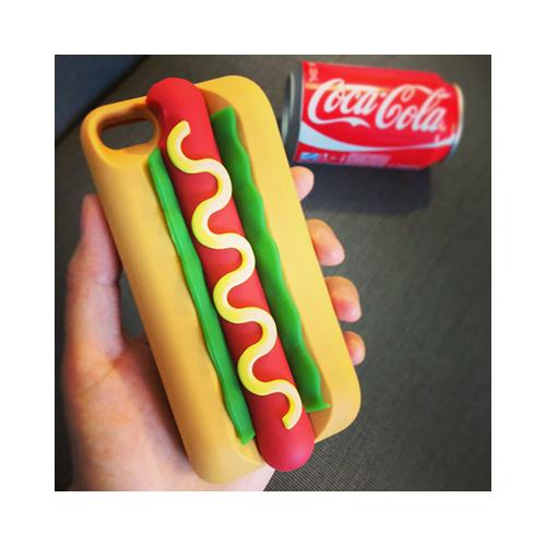 [REDshield] Apple iPhone 8 Plus / 7 Plus / 6S Plus / 6 Plus 3D Silicone Case, [Yummy Hot Dog in Bun] Flexible Anti-shock Silicone Protective Skin Case Cover