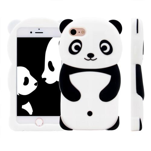 [REDshield] Apple iPhone 8 / 7 / 6S / 6 Plus 3D Silicone Case, [Panda Bear] Flexible Anti-shock Silicone Protective Skin Case Cover