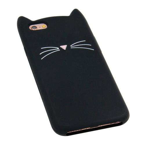 Made for Apple iPhone 8 Plus / 7 Plus 3D Silicone Case, [Black Kitty Cat] Slim Flexible Anti-shock Silicone Protective Skin Case Cover by Redshield