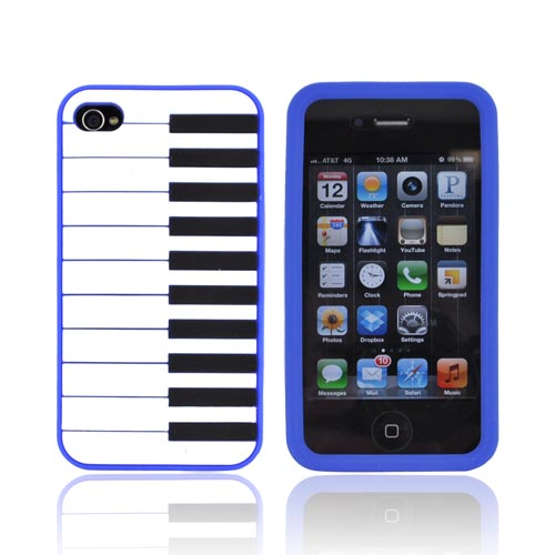 AT&T/ Verizon Apple iPhone 4, iPhone 4S Silicone Case - Blue Piano