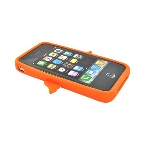 Apple Verizon/ AT&T iPhone 4, iPhone 4S Silicone Case - Orange Angel w/ Wings