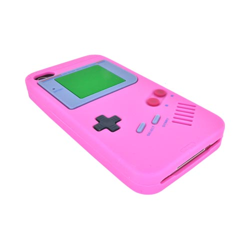 AT&T/ Verizon Apple iPhone 4, iPhone 4S Silicone Case - Pink Retro Pocket Gamer