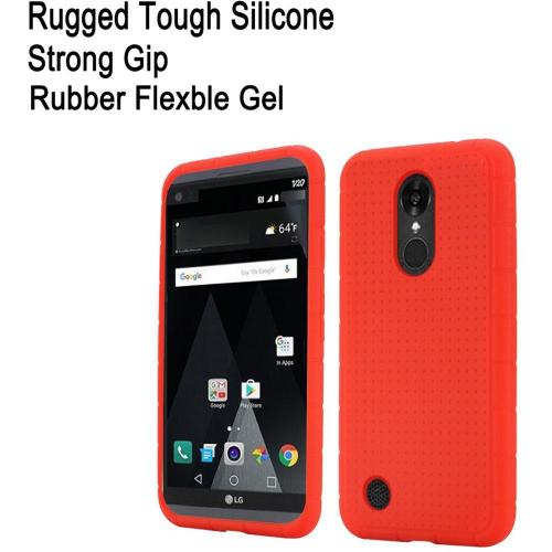 LG Aristo/ Fortune Case, Soft & Flexible Reinforced Silicone Skin Case Cover [Red]