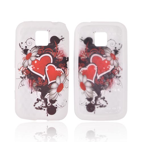 LG Optimus M MS690 Silicone Case - Red Hearts & Flowers on Frost White