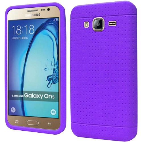 Samsung Galaxy On5 Case, Soft & Flexible Reinforced Silicone Skin Case Cover [Purple]