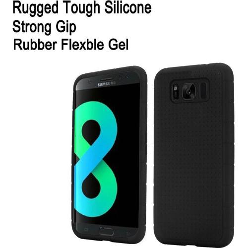 Samsung Galaxy S8 Plus Silicone Case, Soft & Flexible Reinforced Silicone Skin Cover [Black] with Travel Wallet Phone Stand