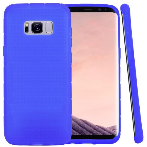 Samsung Galaxy S8 Plus Silicone Case, Soft & Flexible Reinforced Silicone Skin Cover [Blue] with Travel Wallet Phone Stand