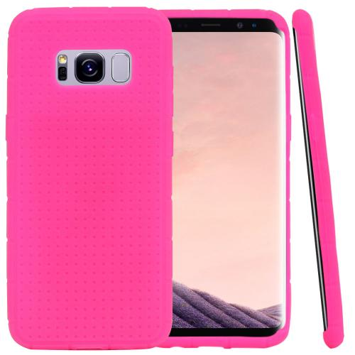 Samsung Galaxy S8 Plus Silicone Case, Soft & Flexible Reinforced Silicone Skin Cover [Hot Pink] with Travel Wallet Phone Stand