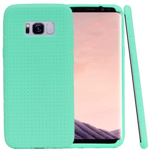 Samsung Galaxy S8 Plus Silicone Case, Soft & Flexible Reinforced Silicone Skin Cover [Mint] with Travel Wallet Phone Stand