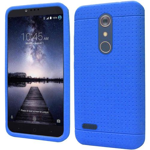 ZTE Z Max Pro Case, Soft & Flexible Reinforced Silicone Skin Case Cover [Blue] with Travel Wallet Phone Stand