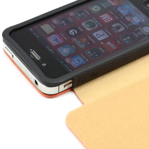 Orange/ Black iRoo Textured Faux Leather Slide-In Case w/ Diary Cover for Apple iPhone 4/4S