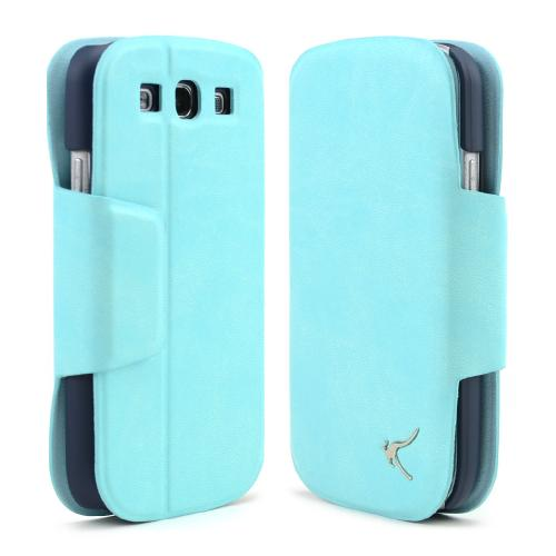 Mint/ Black iRoo Faux Leather Diary Flip Cover Hard Case w/ ID Slots & Magnetic Closure For Samsung Galaxy S3