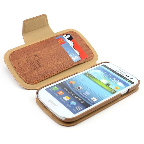 Wood Grain iRoo Faux Leather Diary Flip Cover Hard Case w/ ID Slots & Magnetic Closure For Samsung Galaxy S3
