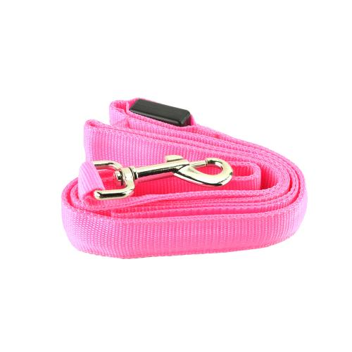 "Pink Nylon Double Sided LED 48"" Light up Leash - Provides Great Safety!"