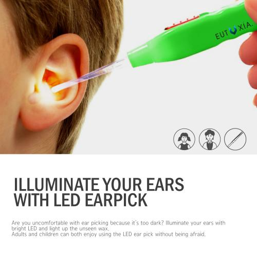 Eutuxia Ear Pick with LED Light. Earpick Earwax Cleaning & Removal Tool, Curette. Comes with 3 Sizes: Basic, Small & Tweezers. Store Extra Extensions in the Rear. Better Accuracy & Precision. [2 PK]