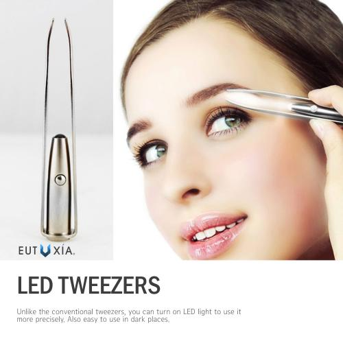 Eutuxia Tweezers with LED Light. Eyebrow and Eyelash Hair Removal Tool. Pluck & Trim Unwanted Hairs. Illuminate Dark Areas with Bright Lighting for Better Accuracy & Precision. Stainless Steel.