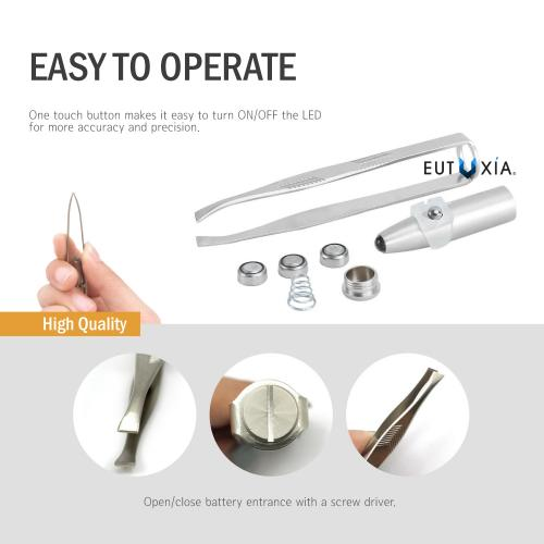 Eutuxia Tweezers with LED Light. Eyebrow and Eyelash Hair Removal Tool. Pluck & Trim Unwanted Hairs. Illuminate Dark Areas with Bright Lighting for Better Accuracy & Precision. Stainless Steel. [2 PK]