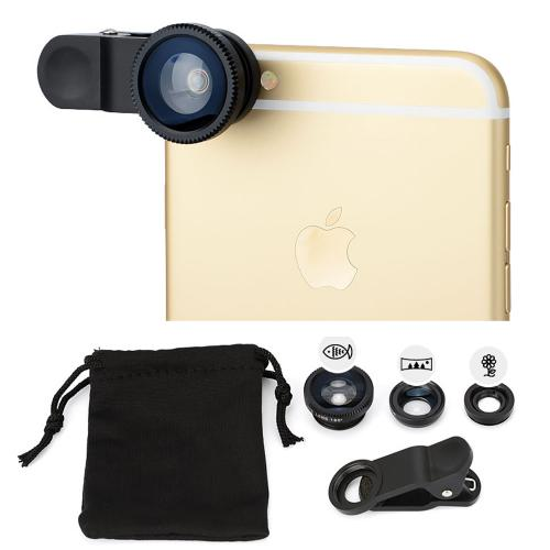 3-in-1 Camera Clip Lens Kit w/ Wide Angle Macro & Fisheye