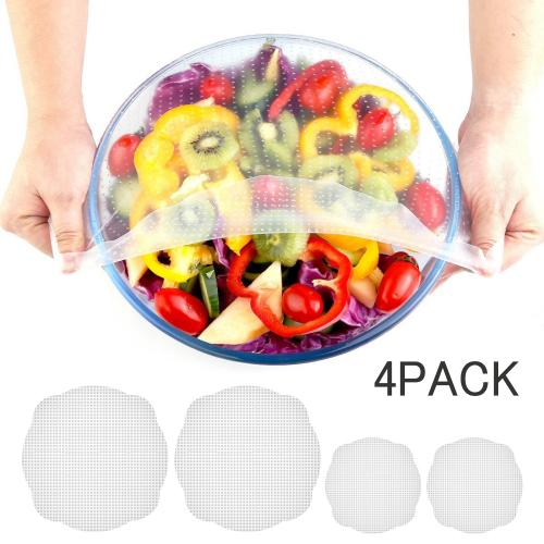 Eutuxia Silicone Stretch Lids, Saran Wraps. Reusable & Multifunctional. Preserve Food Freshness by Creating Airtight Seal Storage. Cover Cups, Bowls, and Containers. BPA Free, Dishwasher Safe. [4 PK]