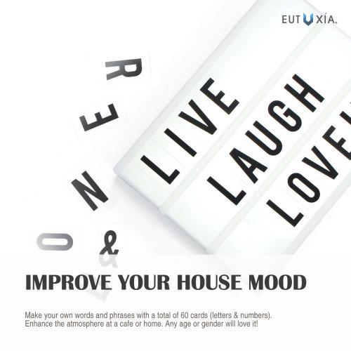 Eutuxia Cinema Light Box with Decorative 60 Letters, Numbers, Symbols. Broadcast Words & Phrases with Cinematic Personalized Display. Illuminates with LED Lighting. Wall Mountable Decoration. [2 PK]