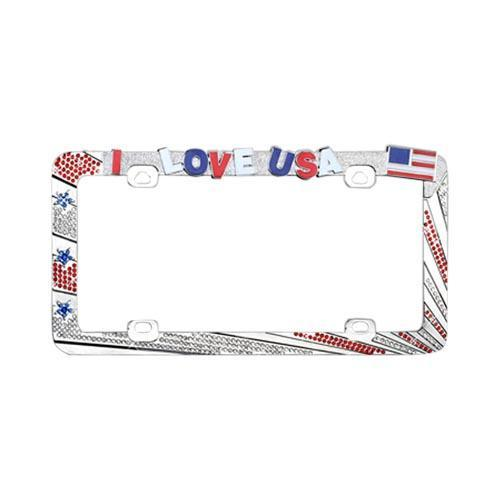 License Plate Frame - I Love USA w/ Red, White, & Blue Gems