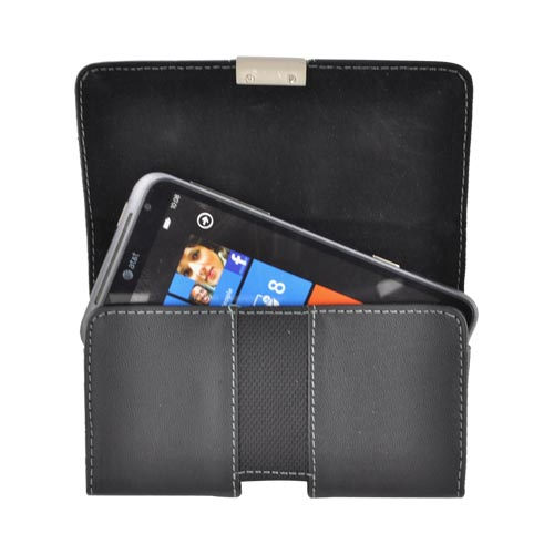 Horizontal Leather Pouch W/ Snap Close Magnet, Belt Clip, Nylon Strip For Samsung Galaxy S3, Htc One, Motorola Droid Razr Hd Sized Phones - Black