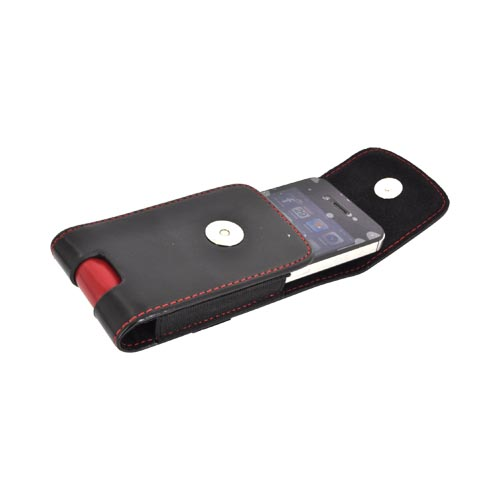 Made for Apple iPhone Vertical Leather Pouch w/ Removable Belt Clips – Black/ Red by Redshield