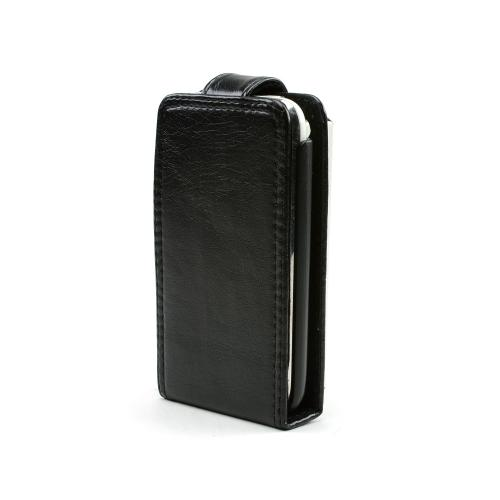 Premium Apple iPhone 3G Book-Type Vertical Leather Pouch w/ Pre-Installed Holster - Black