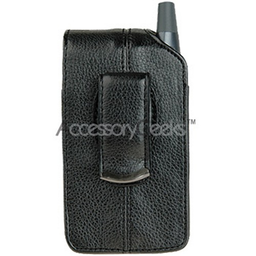 PDA Vertical Executive Leather Pouch w/ Belt Clip - Black (Treo Size)