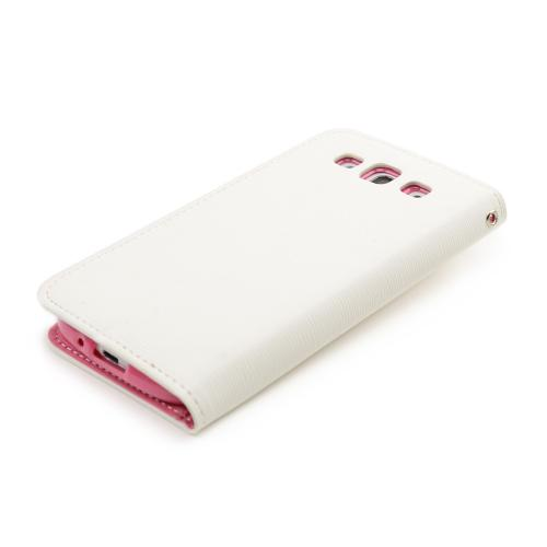 White/ Hot Pink Faux Leather Diary Flip Stand Case w/ ID Slots & Bill Fold for Samsung Galaxy S3