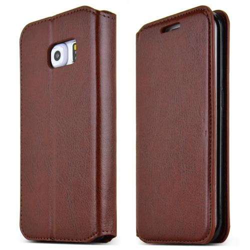 Samsung Galaxy S6 Edge Case,  [Brown]  Kickstand Feature Luxury Faux Saffiano Leather Front Flip Cover with Built-in Card Slots, Magnetic Flap