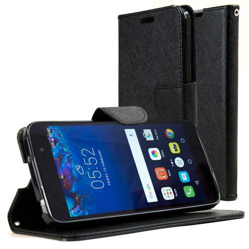 Alcatel Idol 4 Diary Case, REDshield [Black] Kickstand Feature Luxury Faux Saffiano Leather Front Flip Cover with Built-in Card Slots, Magnetic Flap with Travel Wallet Phone Stand