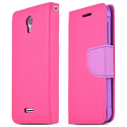 Alcatel One Touch POP Astro Case, [HOT PINK] Faux Leather Front Flip Cover Diary Wallet Case w/ Magnetic Flap