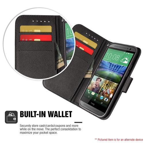 HTC Desire 520 Case, [Black] Faux Leather Front Flip Cover Diary Wallet Case w/ Magnetic Flap