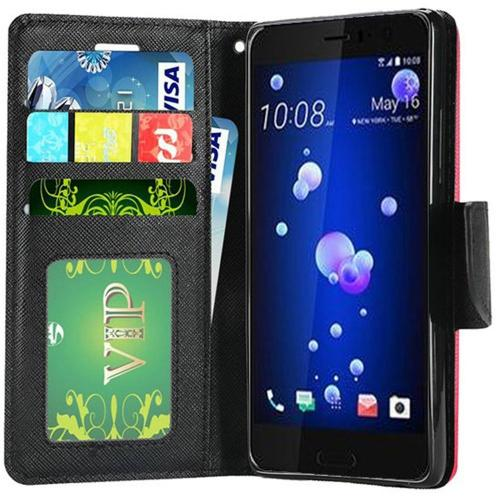 HTC U11 Wallet Case, [Hot Pink] Kickstand Feature Luxury Faux Saffiano Leather Front Flip Cover with Built-in Card Slots, Magnetic Flap