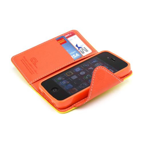 Yellow/ Orange Faux Leather Diary Flip Case w/ ID Slots, Bill Fold, & Magnetic Closure for Apple iPhone 4/4S - XXIP4