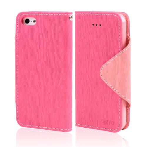 Made for Apple iPhone SE / 5 / 5S Wallet Case,  [Hot Pink/ Baby Pink]  Kickstand Feature Luxury Faux Saffiano Leather Front Flip Cover with Built-in Card Slots, Magnetic Flap