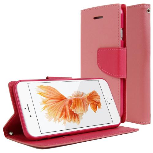 Made for Apple iPhone 6/ 6S Case, [Baby Pink/ Hot Pink]  Kickstand Feature Luxury Faux Saffiano Leather Front Flip Cover with Built-in Card Slots, Magnetic Flap by Redshield