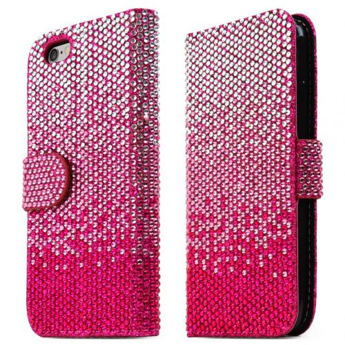 Made for Apple iPhone 6/ 6S Case,  [Hot Pink] Bling Waterfall Diamond Kickstand Feature Luxury Faux Saffiano Leather Front Flip Cover with Built-in Card Slots, Magnetic Flap by Redshield