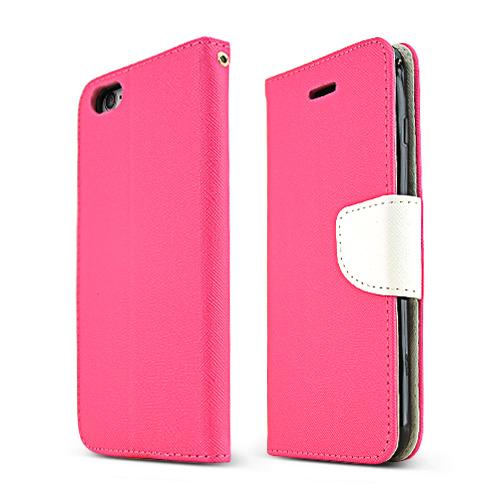 Made for Apple iPhone 6 PLUS/6S PLUS (5.5 inch) Wallet Case,  [Hot Pink/ White]  Kickstand Feature Luxury Faux Saffiano Leather Front Flip Cover with Built-in Card Slots, Magnetic Flap by Redshield