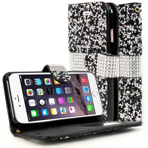 Apple iPhone 8/7/6S/6 Wallet Case, REDshield [Black Shiny Sparkling Gem w/ Silver] Kickstand Feature Luxury Faux Saffiano Leather Front Flip Cover with Built-in Card Slots, Magnetic Flap with Travel Wallet Phone Stand