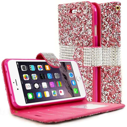 Made for Apple iPhone 8/7/6S/6 Plus Wallet Case, [Pink Shiny Sparkling Gem w/ Silver] Kickstand Feature Luxury Faux Saffiano Leather Front Flip Cover with Built-in Card Slots, Magnetic Flap with Travel Wallet Phone Stand by Redshield