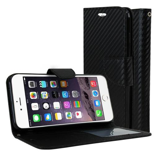 Made for Apple iPhone 8/7/6S/6 Plus Diary Case, [Carbon Fiber Design] Kickstand Feature Luxury Faux Saffiano Leather Front Flip Cover with Built-in Card Slots, Magnetic Flap with Travel Wallet Phone Stand by Redshield