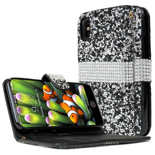 Made for [Apple iPhone X / XS 2018] Wallet Case, [Black Shiny Sparkling Gem w/ Silver] Kickstand Luxury Faux Saffiano Leather Front Flip Cover with Built-in Card Slots, Magnetic Flap by Redshield