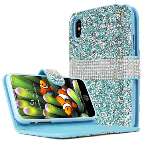 Made for [Apple iPhone X / XS 2018] Wallet Case, [Mint Shiny Sparkling Gem w/ Silver] Kickstand Luxury Faux Saffiano Leather Front Flip Cover with Built-in Card Slots, Magnetic Flap by Redshield