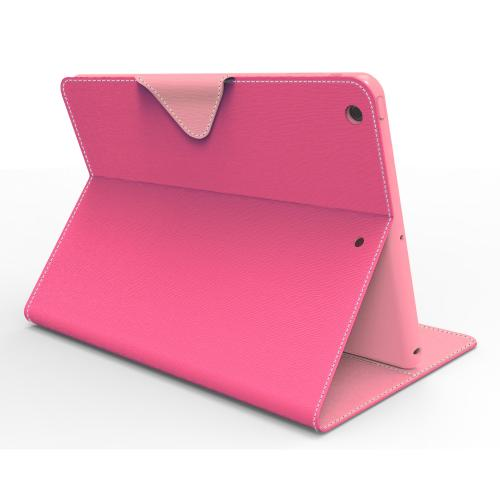 Hot Pink/ Baby Pink  Faux Leather Diary Flip Case w/ ID Slots, Bill Fold, & Magnetic Closure for Apple iPad Air
