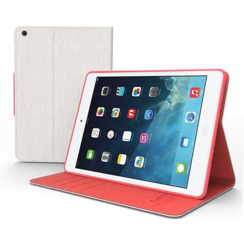 Made for Apple iPad Mini 2 White/ Hot Pink Faux Leather Diary Flip Case w/ ID Slots, Bill Fold, Magnetic Closure