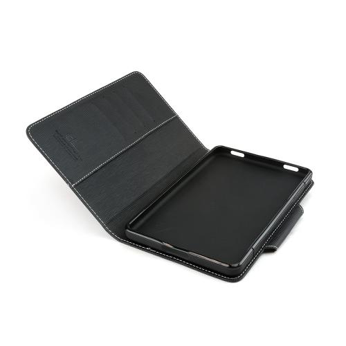 Black Faux Leather Diary Flip Case w/ ID Slots, Bill Fold, Magnetic Closure for Amazon Kindle Fire 2 2012