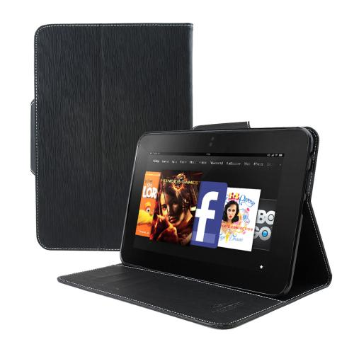 Black Faux Leather Diary Flip Case w/ ID Slots, Bill Fold, & Magnetic Closure for Amazon Kindle Fire HD 8.9